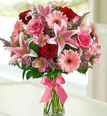 EUROPEAN ROMANCE RED PINK ROSES STARGAZER LILY