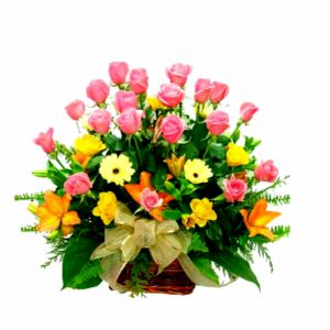 flower-basket-with-roses-lilies-gerberas